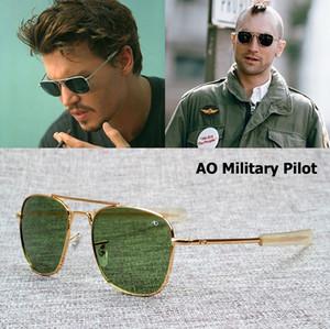 AO lente de cristal Marca Army MILITARY Gafas de sol ópticas americanas James Bond Men 12K chapado en oro aviación Caravan Crystal G15 Gafas de sol