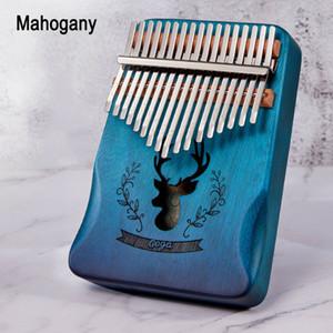17 Clave de alta calidad Kalimba africano sólido de caoba del pulgar del dedo del piano Piano Sanza 17 teclas sólido al por mayor de la fábrica de madera Kalimba Mbira