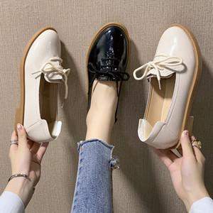 Bir Deri Ayakkabı Küçük Bayanlar Lastik Ayakkabı Yumuşak Deri-Style Kore tarzı yuvarlak Toe'nun 2019 Versatile Kauçuk Trendy Ayakkabı Yapışkan-on