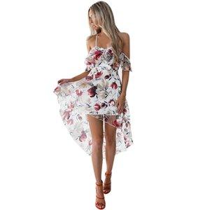 Dress Lady Strapless Bohemian Style Ladies Mini Dress Irregular Sexy Halter Summer Beach Dresses Beautiful Sexy Sundress #N MX200518