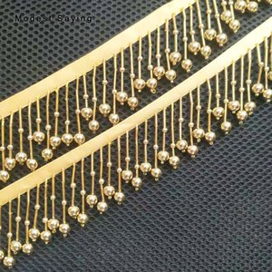 5 Yards Gold 5cm Beaded Fringe Trim Ribbon Sewing Pearls Tassel Fringe Trimming Latin Dresses Evening Gowns Garment Accessories