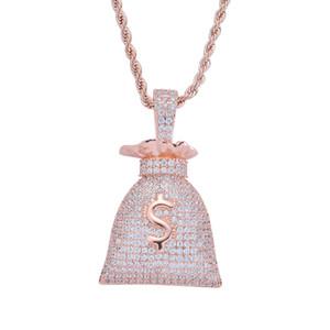 Collier plaqué or 14K Dollar Sign Sacs argent Pendentif Micro Pavée Zircon Bling Hip Hop Bijoux cadeau