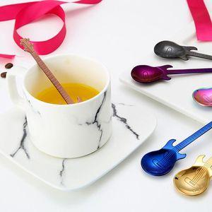 Guitar Coffee Spoon Set Stainless Steel Dessert Ice Cream Spoon Tea Spoon Coffee Accessories Flatware Cutlery Drinking Tools