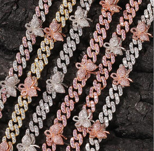 9MM Mini Butterfly Cuban Link chain Pink Butterflys choker Cz Punk Miami Link Bling Bling Hip Hop Jewelry For Gift