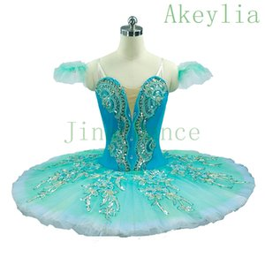 Aqua Blue Professional Ballet Tutu Women Nutcracker Fairy Doll Ballet Stage Costumes Pink Sleeping Beauty Pancake Tutu