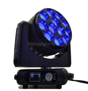 2 / lote caso voar cada leds controlado separadamente Zoom moving head 7-70 graus 12 pc 40 W RGBW 4em1 LED zoom moving head light