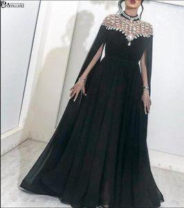 Chiffon musulmane dei vestiti da sera neri 2020 Cristalli alto collo con Cap Dubai Kftan Arabia arabo formale Piano Lunghezza vestiti lunghi Prom