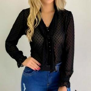 Frauen Blusen Hemden 2021 Mode Frauen Chiffon Hemd Tops V-Ausschnitt Beiläufige Büro Langarm Blusas Mujer de Moda