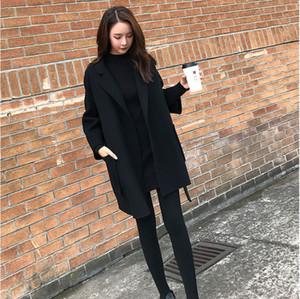 Female Plus Size Loose Warm Wool Blends Long Winter Wool Coats Women Office Work Wear Elegant tops No belt