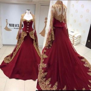Muslimische Goldspitze Applizierte Burgund Abendkleider 2019 Mit Langen Ärmeln Mittlerer Osten Dubai Arabien Prom Dresses Vestido de Festa
