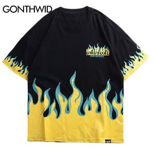 Gonthwid Hip Hop Fire Flame Camisetas estampadas Streetwear 2019 Summer Men Casual Camisetas de manga corta Hombre Moda Algodón Top Tees Y19072201