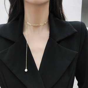 Fashion Style Pearl Choker Necklace Fairy Willow Leaf Chain Pendant Necklace For Women Girls Collarbone Neck Chain Jewelry Gifts