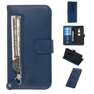 Étui en cuir à fermeture à glissière pure pour Sony Xperia XZ2 / XZ3 / XZ4 Couvercle à motif mollet Portefeuille Filp Stand avec fente pour carte pour Sony Xperia 1