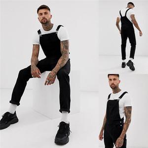 Ripped vita alta Slim generale pantaloni moda pantaloni casual da uomo Mens Fashion Designer Rommper Mens nero