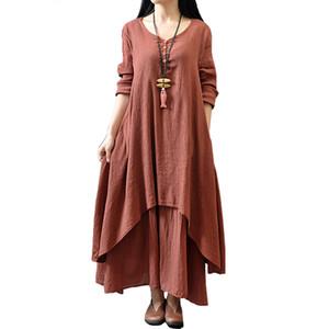 Johnature хлопок цвет женщины макси платье 2019 весна новый ложный из двух частей с длинным рукавом шею свободные плюс размер нерегулярные платье J190619