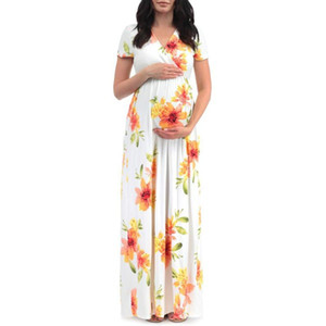 2020 Women's V-neck Short Sleeve Printing One Piece Maternity Dress Summer Women Pregnant Pregnancy Clothes Dress
