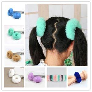 Niedliche Kaninchen Fuzzy Haarband Seil Ring Mode Imitation Pelz Samt Hairkopfbedeckung Pony Tails-Halter-Haar-Zusätze für Frauen Mädchen