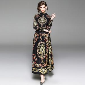 Primavera femminile stampa colletto in piedi manica lunga abito alla caviglia barocco retrò palazzo stile elegante maxi abiti abbigliamento donna QP33599