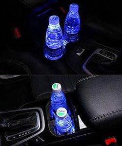 LOGO 2PCS LED أضواء السيارات حامل كأس لأودي، 7 ألوان تغيير USB شحن حصيرة الفلورسنت كأس الوسادة، LED الداخلية الغلاف الجوي مصباح
