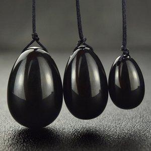 Cristallo ossidiana nera naturale di quarzo Yoni uova Donna Vagina Healing Massage cristallo Natural Power di pietra Yoni Sex Toy Egg