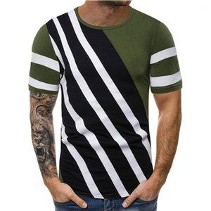 Color Line Pallened Erkek Gömlek Tasarımcı Tayfa Yaka Kısa Kollu Vintage Saf Casual Erkekler Rasgele Tees Designer Tops