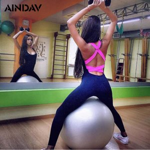 AINDAV One Piece Sexy Women Gym Fitness Yoga Ensembles Vêtements de sport Total Fitness élastiques collants de course Tenues Leggings Y200422