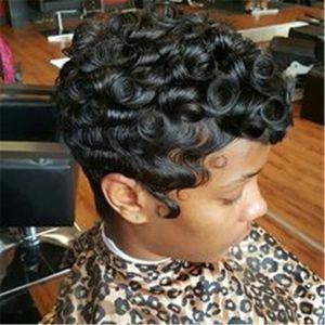 100% человеческих волос парик Короткие вьющиеся черные Pixie Cut волос парики для женщин Machine Made парик Real волос