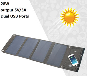Dos puertos USB del panel solar 28W Cargador portátil de salida de 5V / 3A de la célula solar banco de la energía del ordenador portátil impermeable para Xiaomi iPhone Huawei
