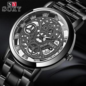 Soxy Relogio Masculino Nuovo superiore di marca orologio da polso di stile unico del quarzo degli uomini orologi di moda Raffreddare Hollow Gentle Clock