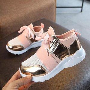 Детская обувь Детские кроссовки Девушки Спортивная обувь Мода кроссовки Антипробуксовочная Pink Cross-связанный Kid тапки вскользь плоские ботинки