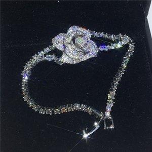 Enlace, cadena Pulsera de flores de lujo Pave 5A Zirconia cúbica Pulseras de boda de engordaje de oro blanco para mujeres Regalo de joyería fina nupcial