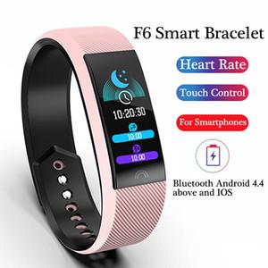 Banda inteligente inteligente pulsera del reloj del ritmo del corazón F6 Actividad rastreador de ejercicios inteligente reloj pulsera de banda para Xiaomi Apple Seguir con la caja