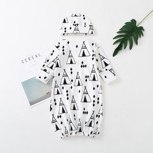 Baby Gowns Newborn Girls Boys Cartoon Pattern Sleeping Clothes Cotton Sleepwear Gown Robes Clothes With Hat