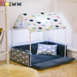 씻을 수있는 홈 모양의 개 침대 + 텐트 개 개집 강아지 개를위한 이동식 아늑한 집 고양이 작은 동물 홈 제품 D19011201