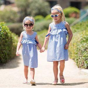 Bébés filles rayé A-ligne Bébé Fille Bébé Striped Ruffle Gilet Robe Enfants Loisirs Tenues Vêtements Filles dentelle Jupe plissée avec bandeau