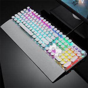 RGB Механической клавиатуры Streaming Punk Стиль Backlit игровой клавиатура Подвеска Клавиша панель металл с управлением светом и запястьями
