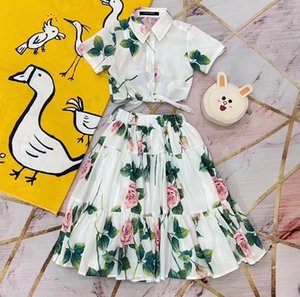 2020 Summer New fashion Lolita style Cloth Pretty Rose print floral dress Two piece sets baby Party Top quality outfit luxury clothes