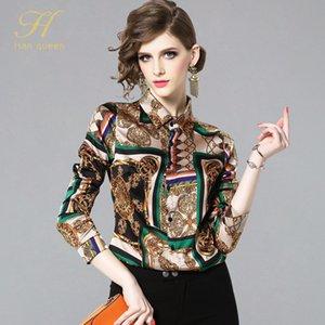 H han queen New Summer Fashion Shirts Women Turn-down Collar Printed Vintage blouse женские однобортные блузки повседневные топы Y200622