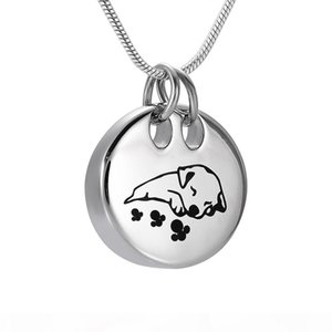 DJX9941 Schlafender Hund Einäscherung Halskette Runde Form-Edelstahl-Haustier-Denkmal Urn-Anhänger Funeral Andenken Schmuck für Asche