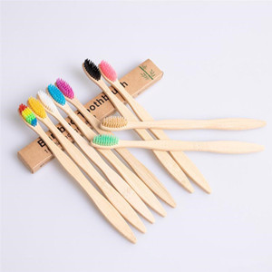 소모품 EEA1648 청소 일회용 칫솔 천연 대나무 손잡이 칫솔 레인보우 다채로운 부드러운 강모 대나무 칫솔 10 색