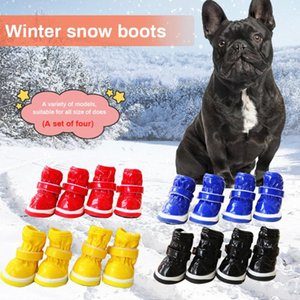Cuoio impermeabile Scarpe Cani Stivali Chihuahua cucciolo cane Anti Slip Snow Boots inverno caldo Dog Pet Shoes Pet Supplies 4pcs