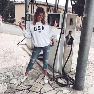 Usa Letter Print New Women Fashion Long Sleeve Hoodie Sweatshirt Harajuku Jumper Hooded Pullover Tops Casual Loose White Coat