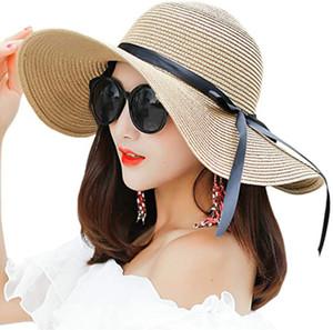 Frauen Art und Weise großer Rand Sonnenhut Floppy faltbare Bowknot Strohhut Sommer-Strand-Hut 10pcs / lot