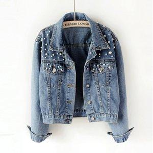 20ss куртки для женщин роскошный дизайнер джинсовая куртка весна осень женщины основные пальто джинсовая куртка жемчуг бисероплетение мода свободные длинные рукава
