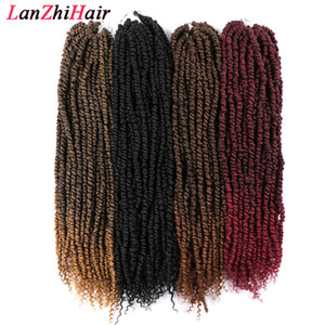 24 inç Uzun Tutku twist Tığ Saç Uzantıları Sentetik Kinky Kıvırcık Örgü Saç Bohemya Tığ Örgü Saç 100g / adet