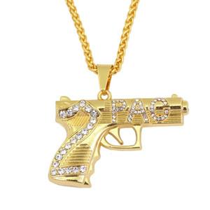 Hip hop 2 PAC arma diamantes pingente colares para homens strass liga handgun colar de luxo de aço Inoxidável cadeias cubanas jóias