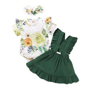 Estate e americani bambino europeo Suit Cute Baby Fiori a maniche corte Robe + Suspender Skirt + Fascia per capelli vestito Three-piece