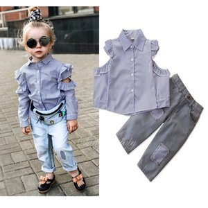 2019 Autumn Girls Clothes Set Kids Off Shoulder Long Sleeve Stripe Shirt + Jeans Girl 2pcs Outfits Children Set 15124