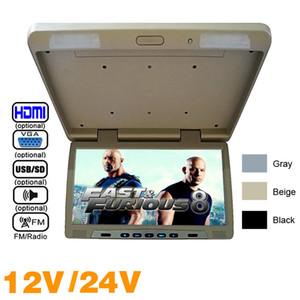 "3 Renkler 20.1 ""Çatı Monte LCD Otobüs Monitörü Araba Otobüs Çevirme TFT LCD Monitör IR Verici Ile USB / MP5 FM Hoparlör VGA 2-Way Video # 1298"