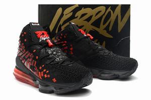 الرجال ليبرون 17 أحذية كرة السلة الأشعة تحت الحمراء جامعة أسود أبيض حذاء رياضة الأحمر